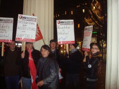Protestkundgebung zum Massaker in Kasachstan